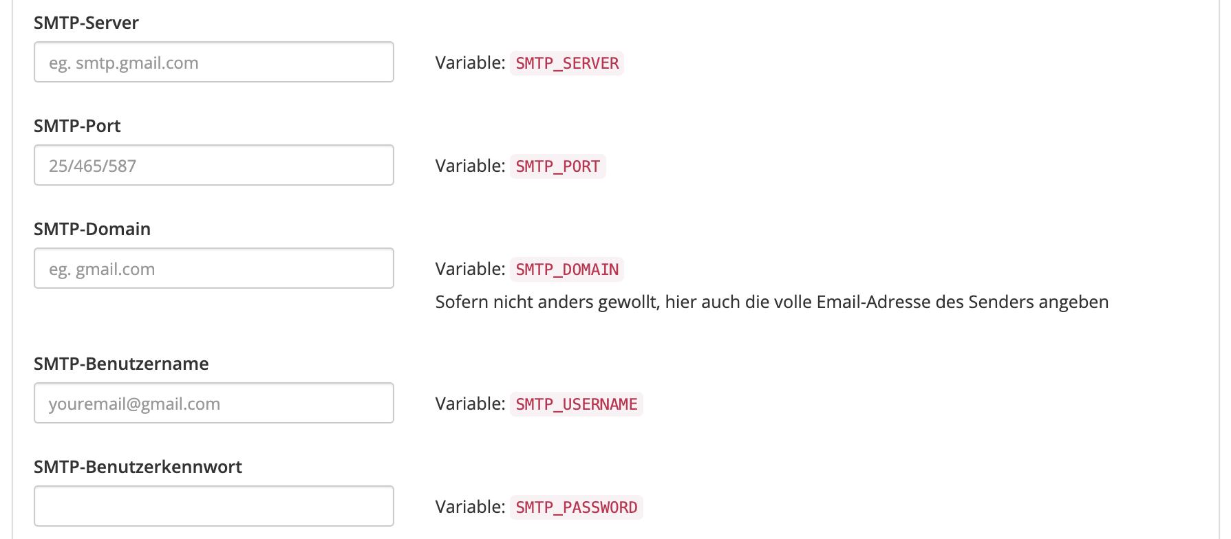 BBB Konfiguration - Mail Einstellungen